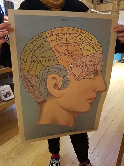 Hypnose, geleide meditatie, kaart met tekening met inhoud van hoofd, illustratie en hersens